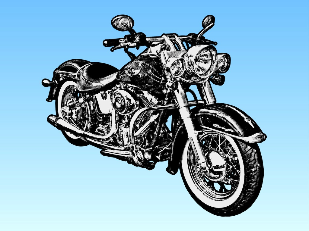 16 Harley Motorcycle Vectors Images
