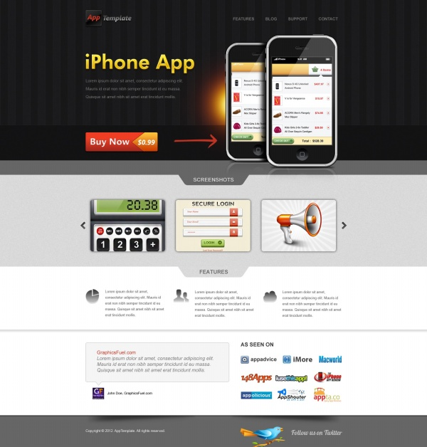 11 Free App Website Template PSD Images