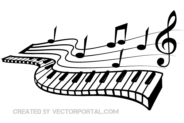 Keyboard Music Notes Clip Art