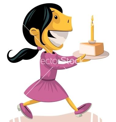 Little Girl Birthday Cake Clip Art