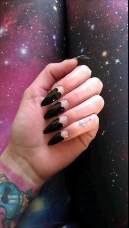 Long Pointy Black Acrylic Nails Tumblr