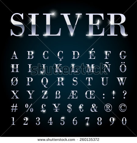 Metallic Silver Font