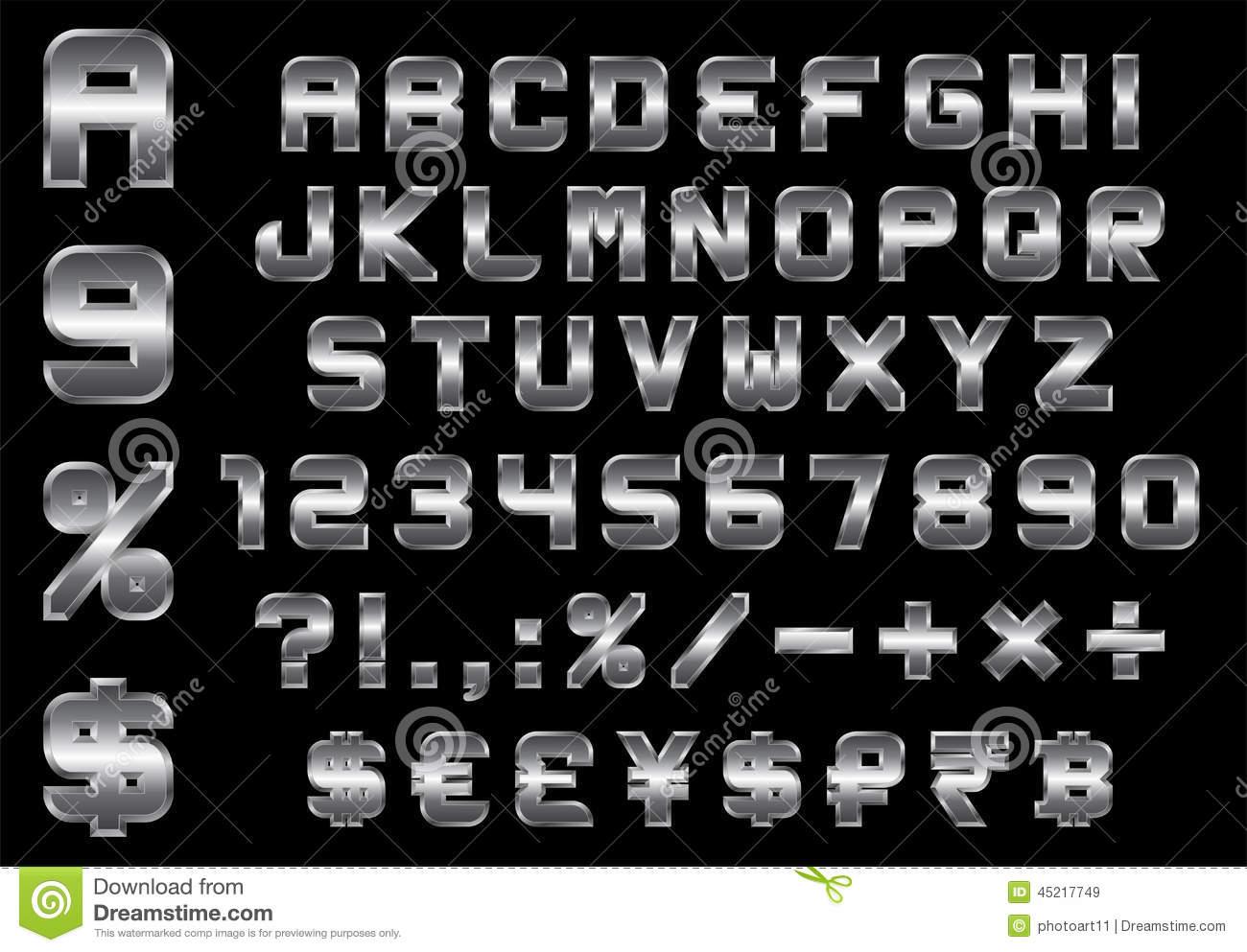 Money Font Number Alphabet