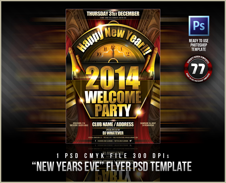 new year eve flyer psd templates