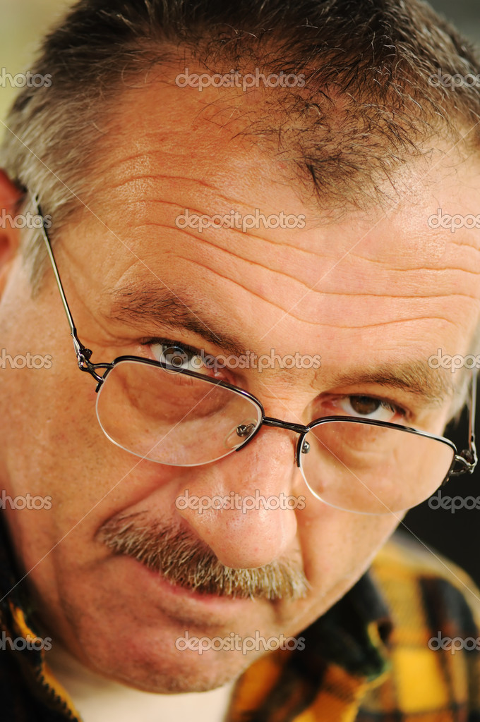 Old Man Face with Glasses