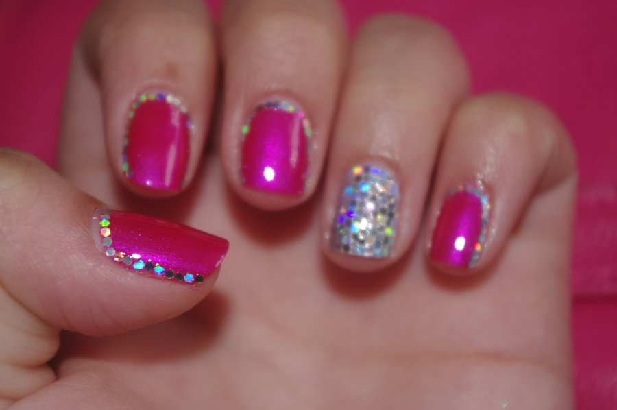 Pink Black and Silver Nail Design