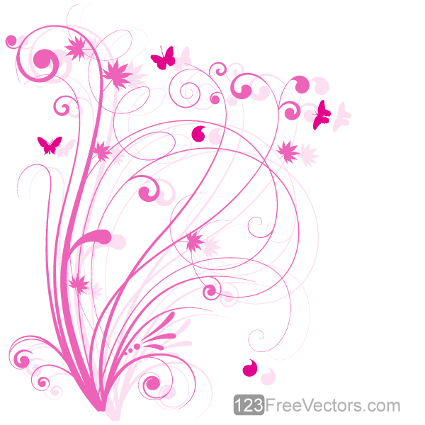 Pink Floral Background Vectors Free