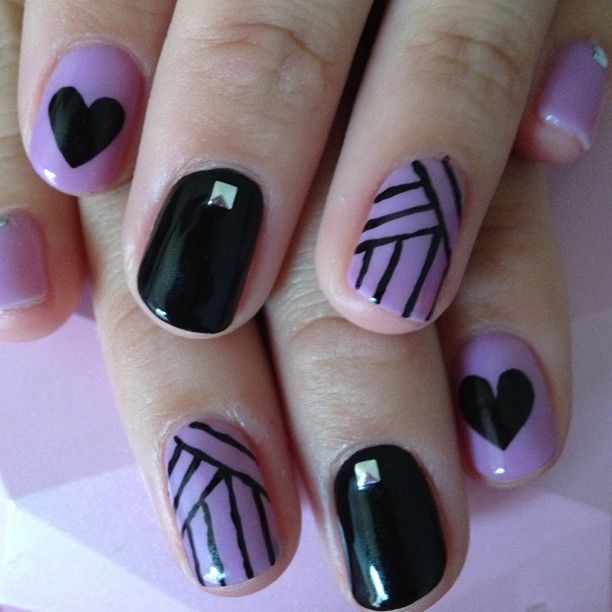 12 Purple Black And White Nail Designs Images