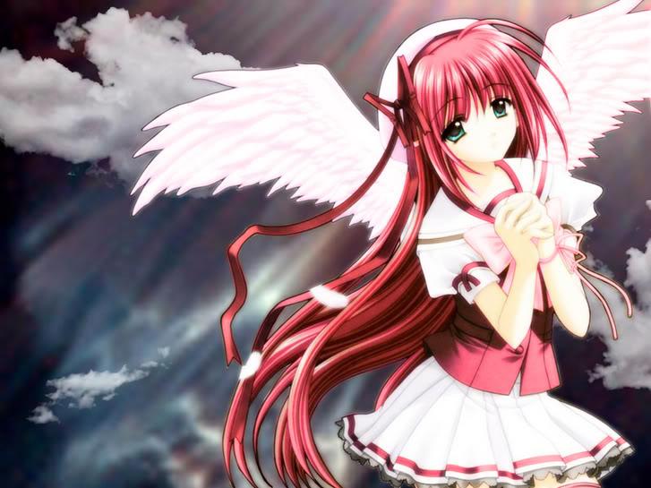 Red Anime Angel Girl