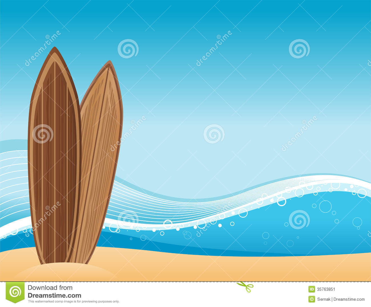 Surf Boards Beach Background Clip Art