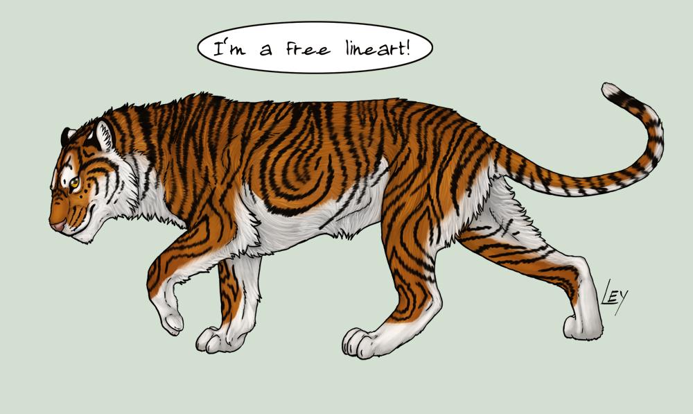 16 Line Art PSD Tiger DeviantART Images