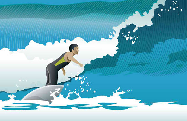 Vector Ocean Wave Surfing