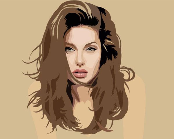 Vector Portrait Angelina Jolie