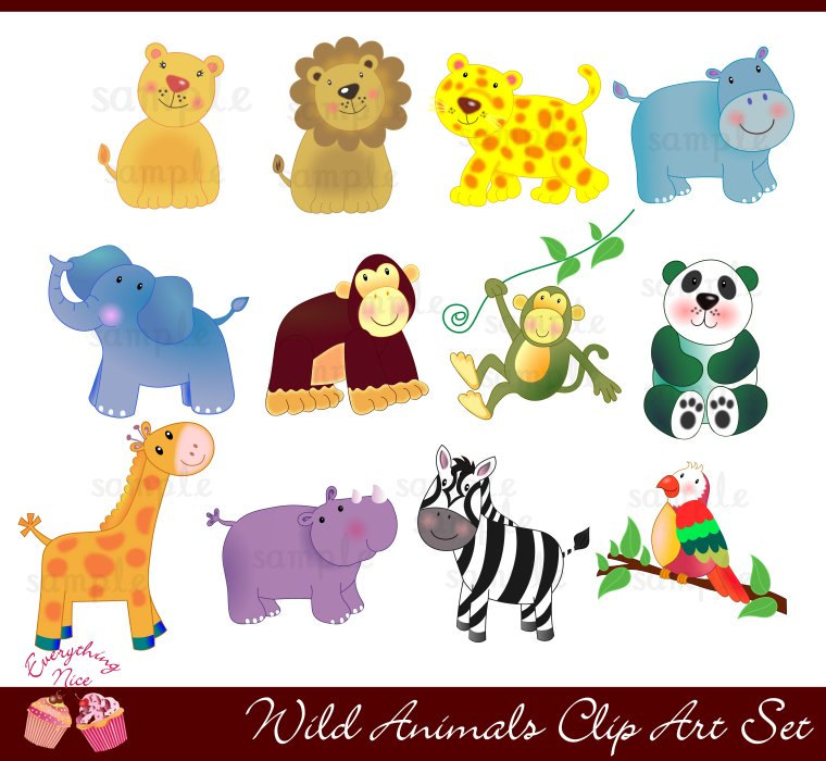 Wild Animals Clip Art Set
