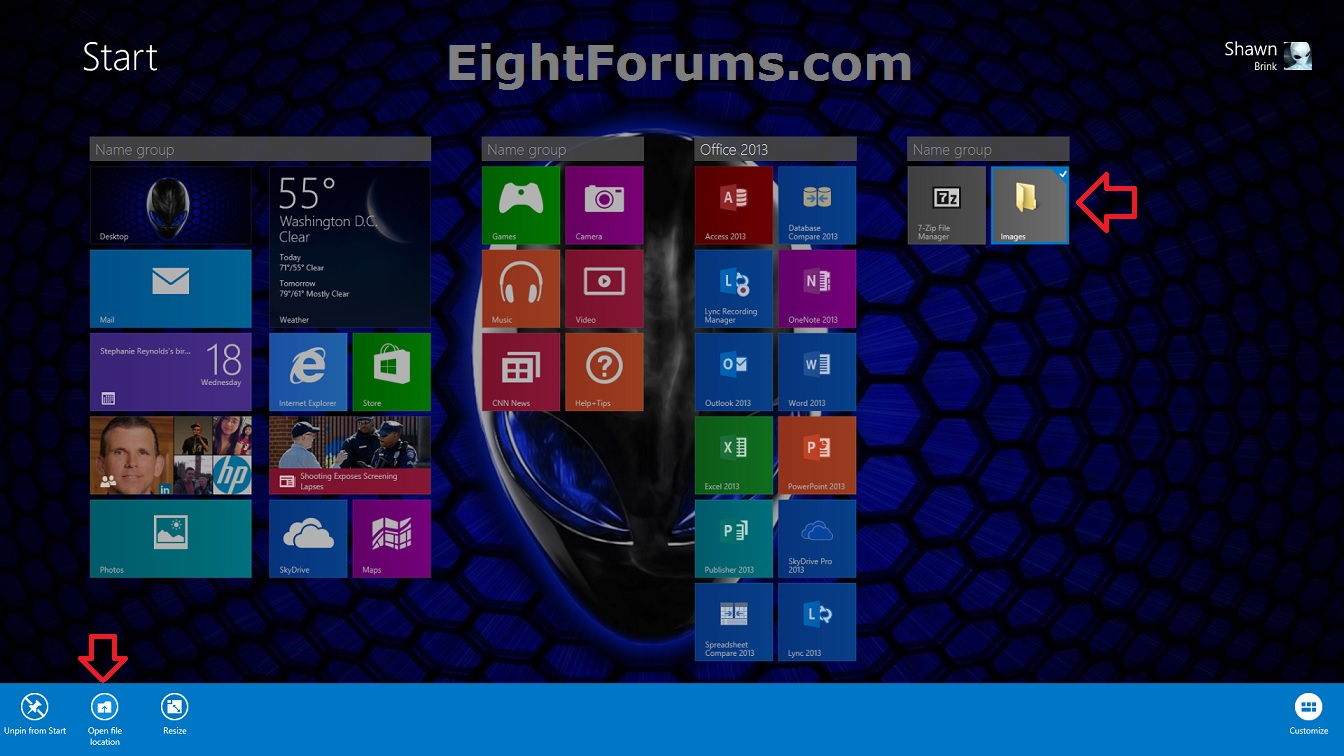 Windows 8 Change Tile Icon