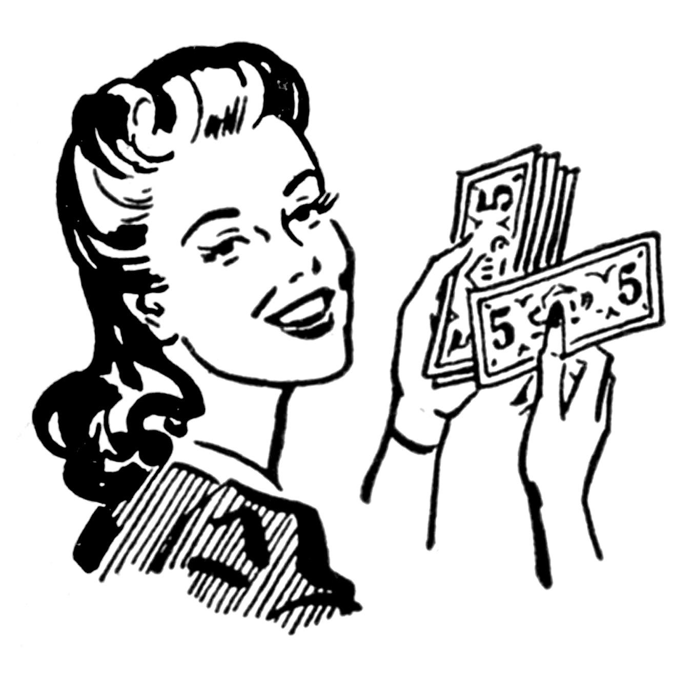 Women and Money Clip Art
