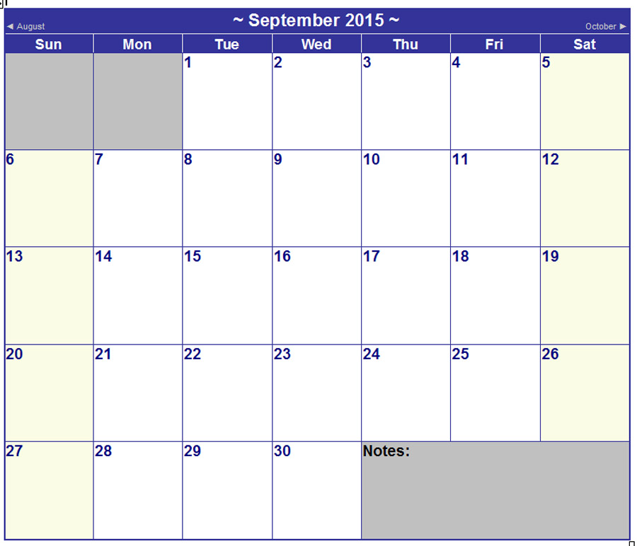 microsoft office monthly calendar