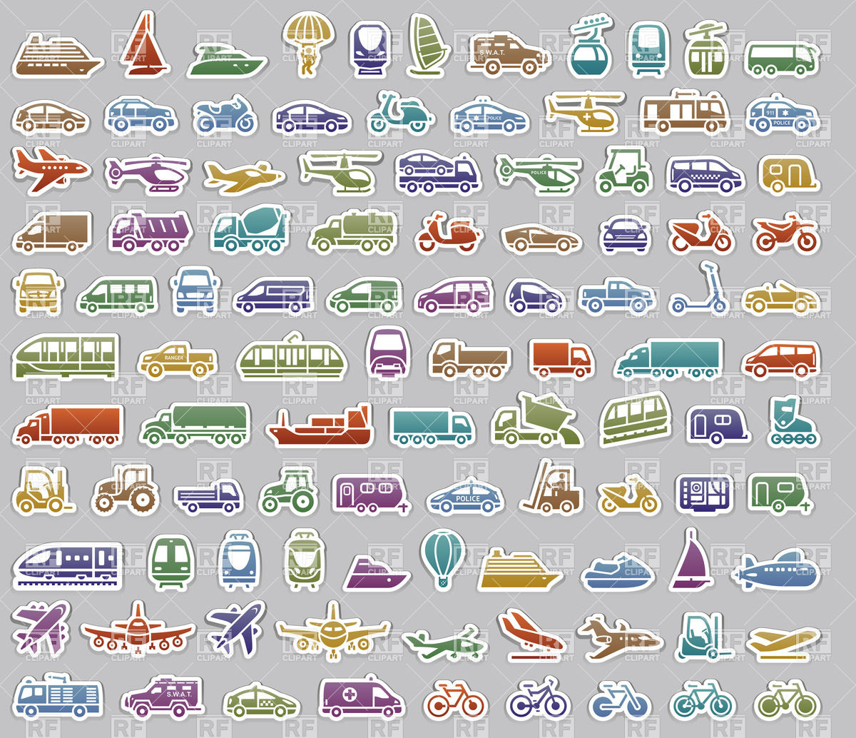 All Types of Transportation Clip Art