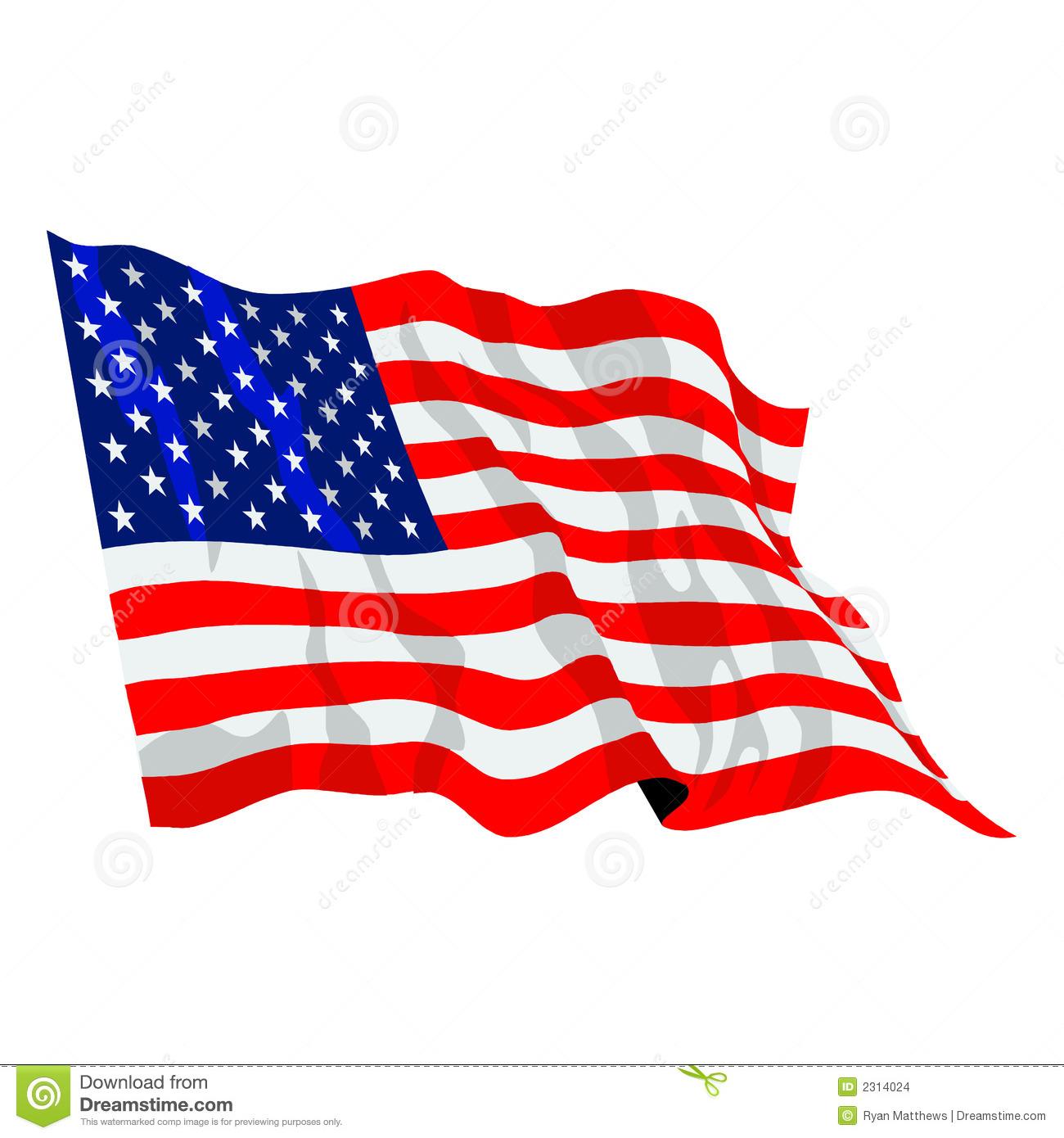 American Flag Waving Vector Clip Art