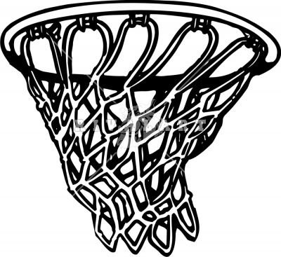 Basketball and Net Clip Art