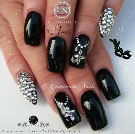 Black and Gold Nail Designs with Bling