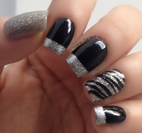 Black and Silver Nail Design