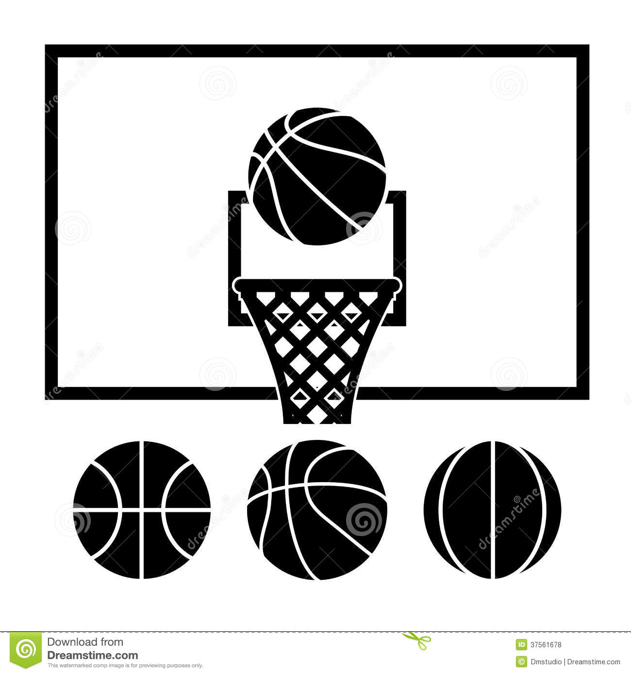 Black and White Basketball Net Vector