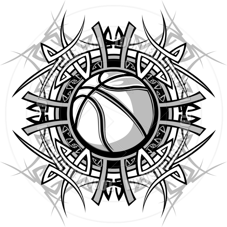 Black and White Basketball Vector