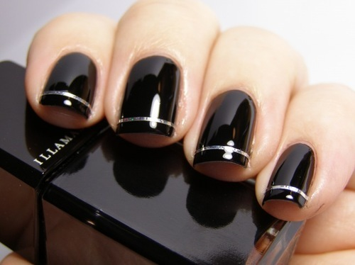 Black Nails with Silver Line