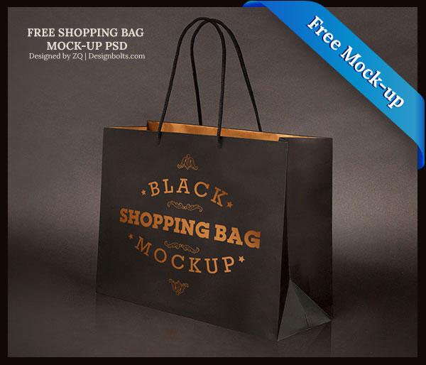 Black Shopping Bag PSD Mock Up