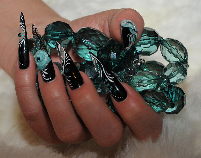 Black Turquoise Nail Art Design