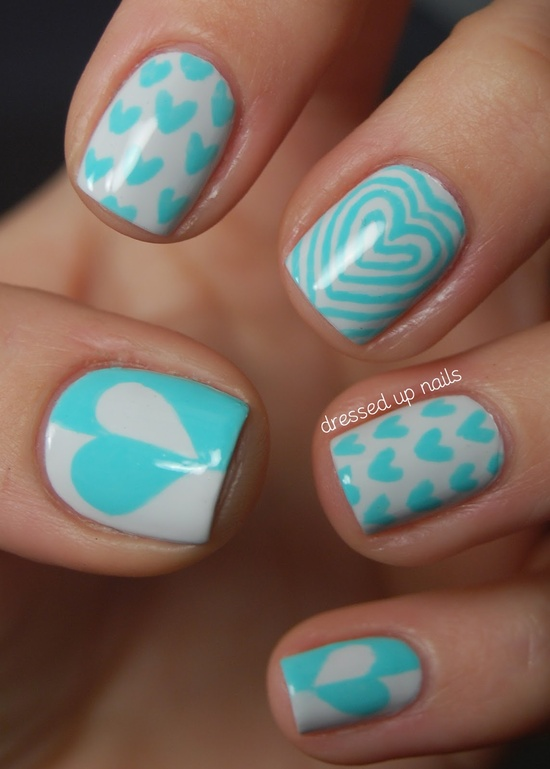 Blue and White Heart Nail Art