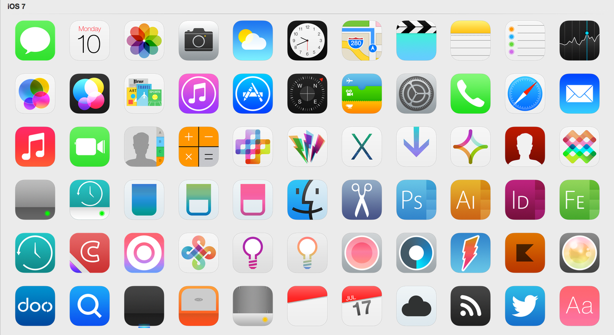 12 IPhone App Icon IOS 7 Images