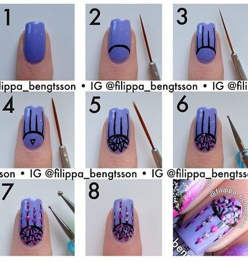 Dream Catcher Nail Art Step by Step