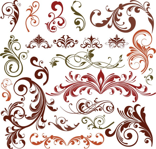 18 Floral Elements Vector Images