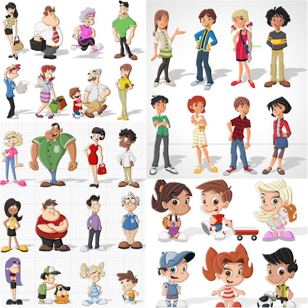 16 Cartoon People Vector Images