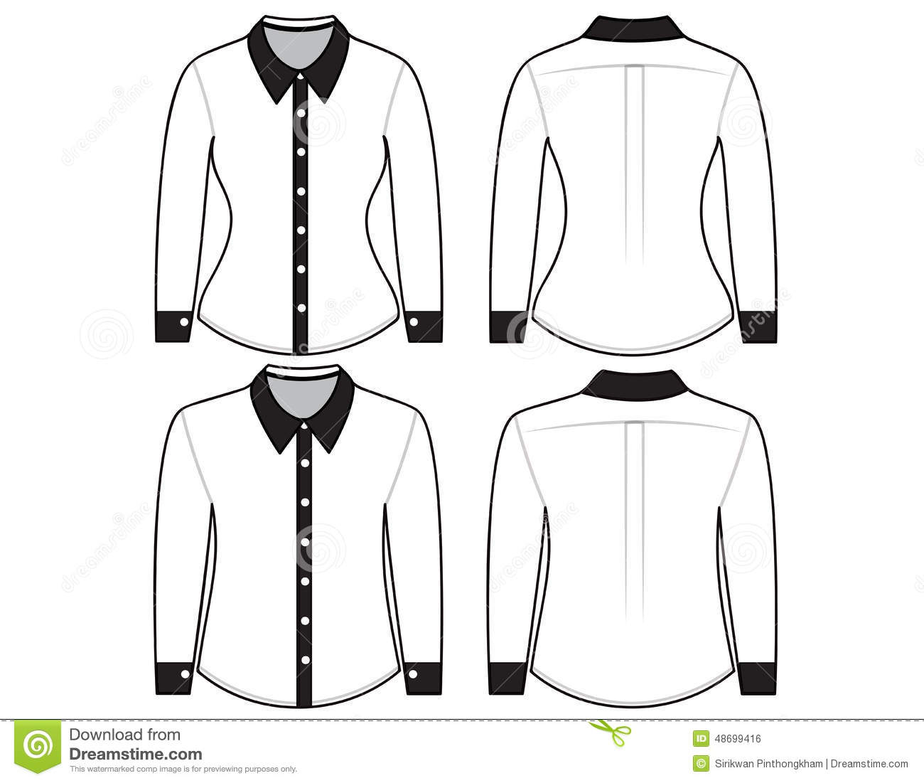 Long Sleeve Blank Shirt Template Back