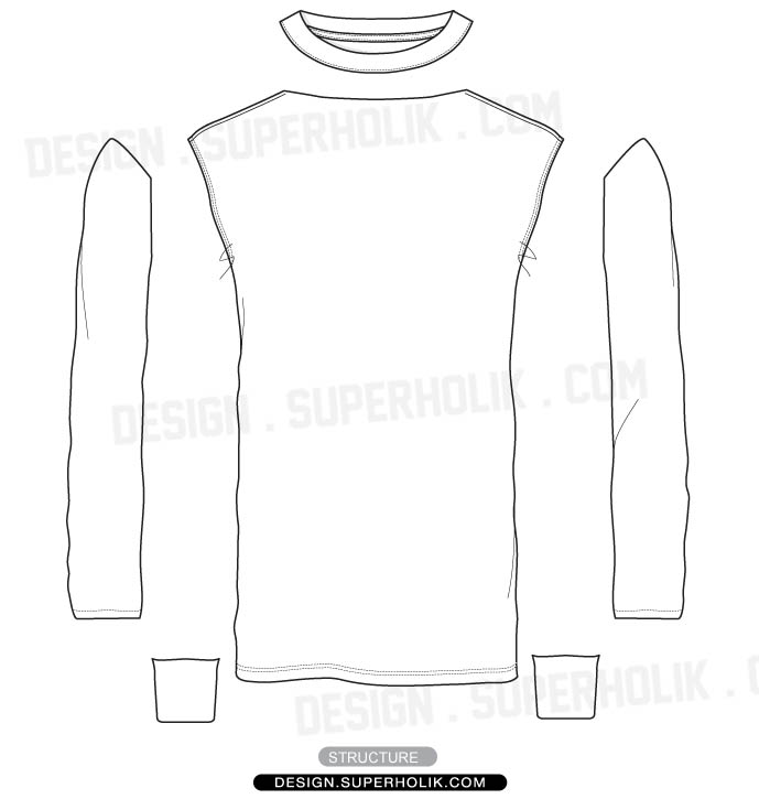 Long Sleeve Shirt Template Design
