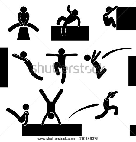 Parkour Stick Figure Silhouette
