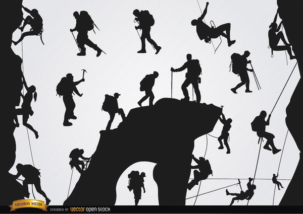 People Silhouette Mountain Climbing Icons