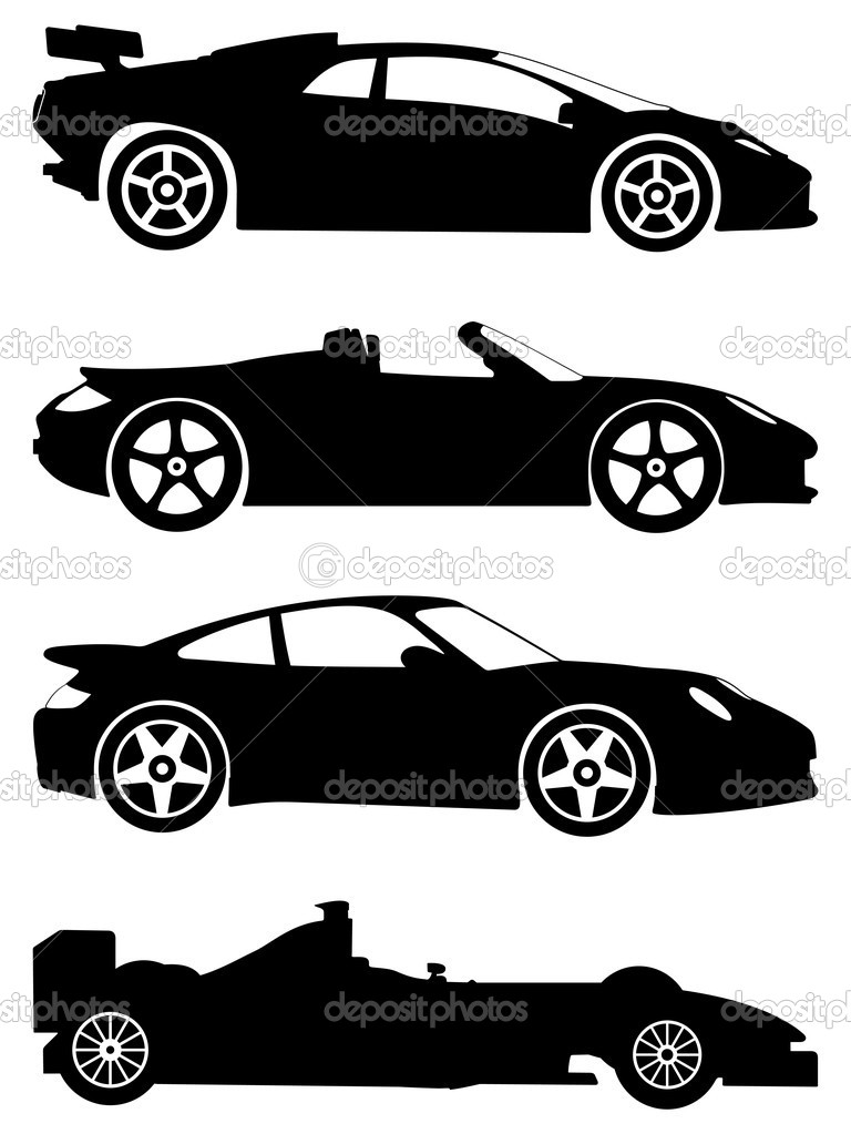 Sports car silhouette vector 13
