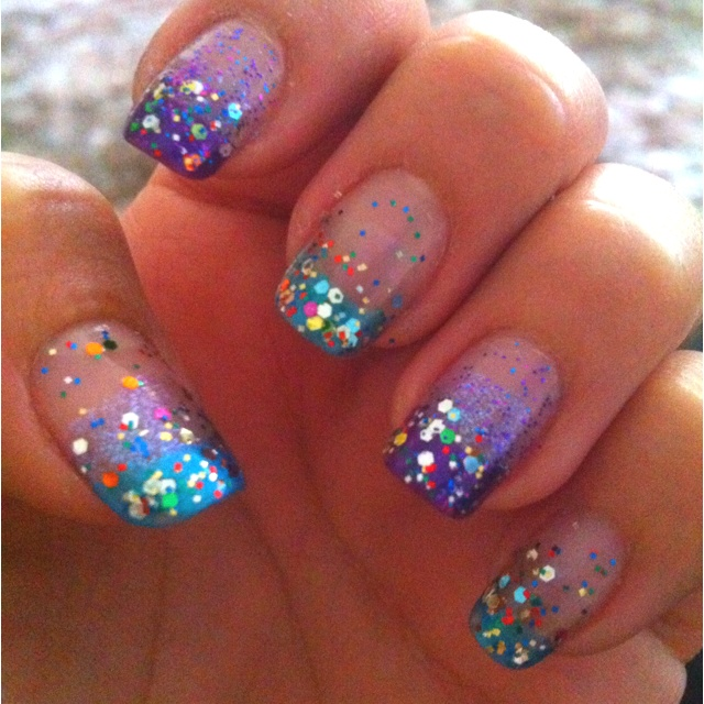 Turquoise and Purple Nail Designs