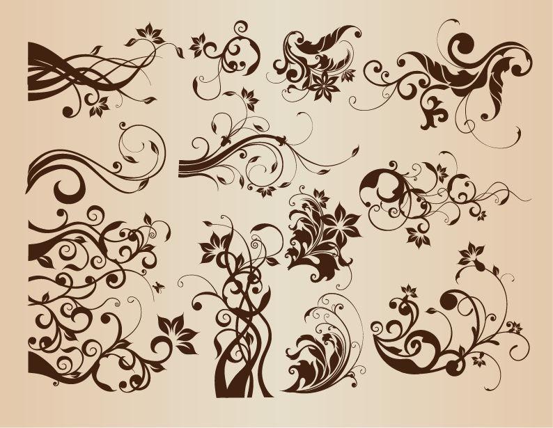 Vintage Floral Vector Design Elements