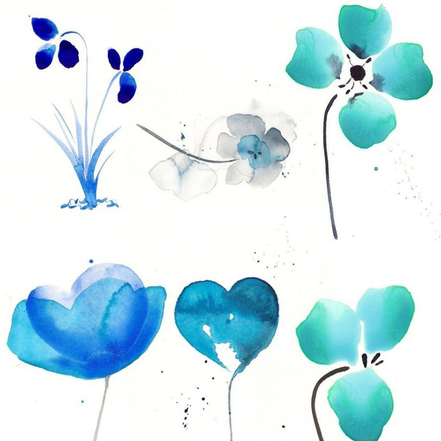 Watercolor Flowers PNG Photoshop Brushes Free