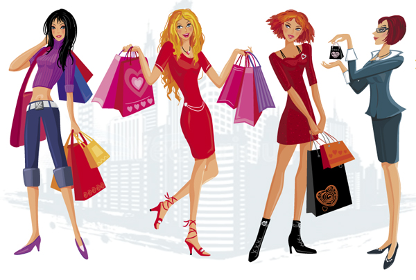 Woman Shopping Vector Free