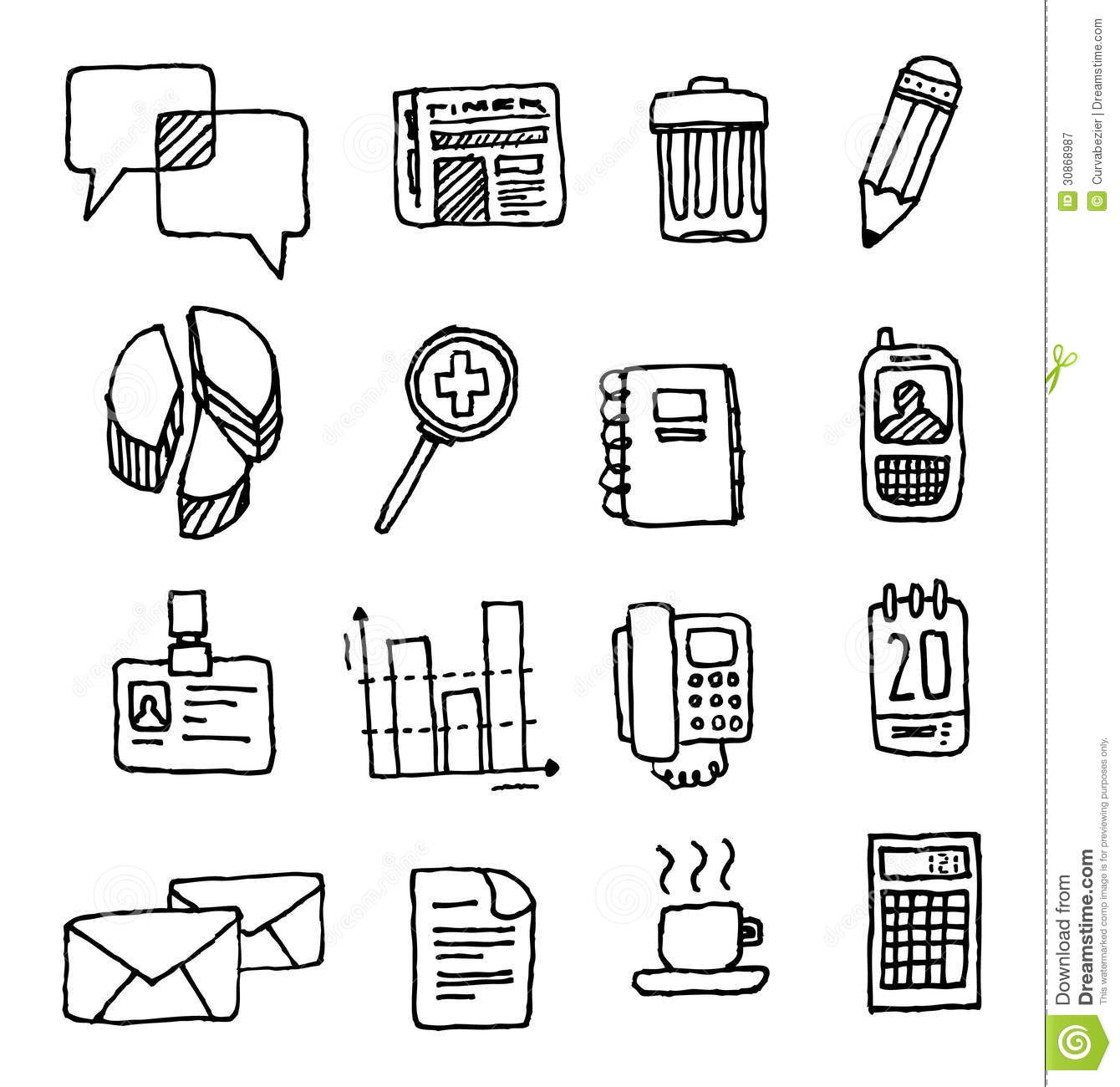 Black and White Business Office Icons Free