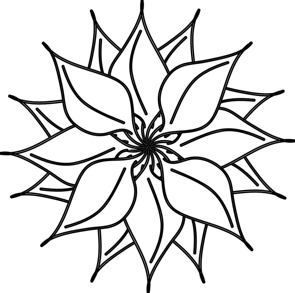 Black and White Flower Clip Art