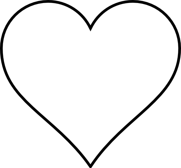 Black and White Heart Outline Clip Art