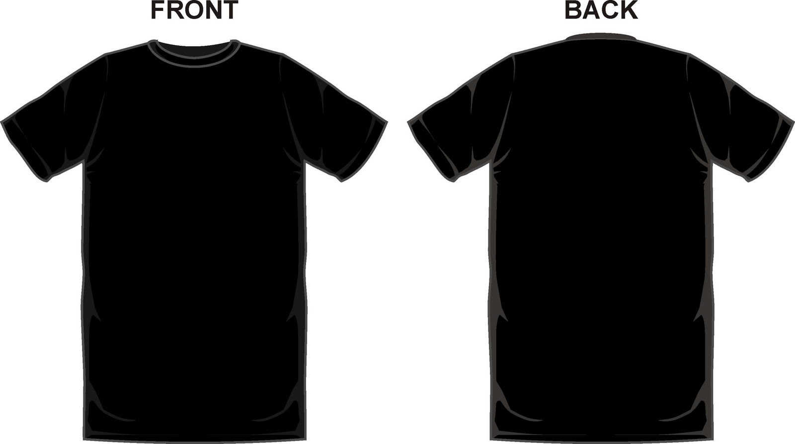 Black T-Shirt Template Front and Back