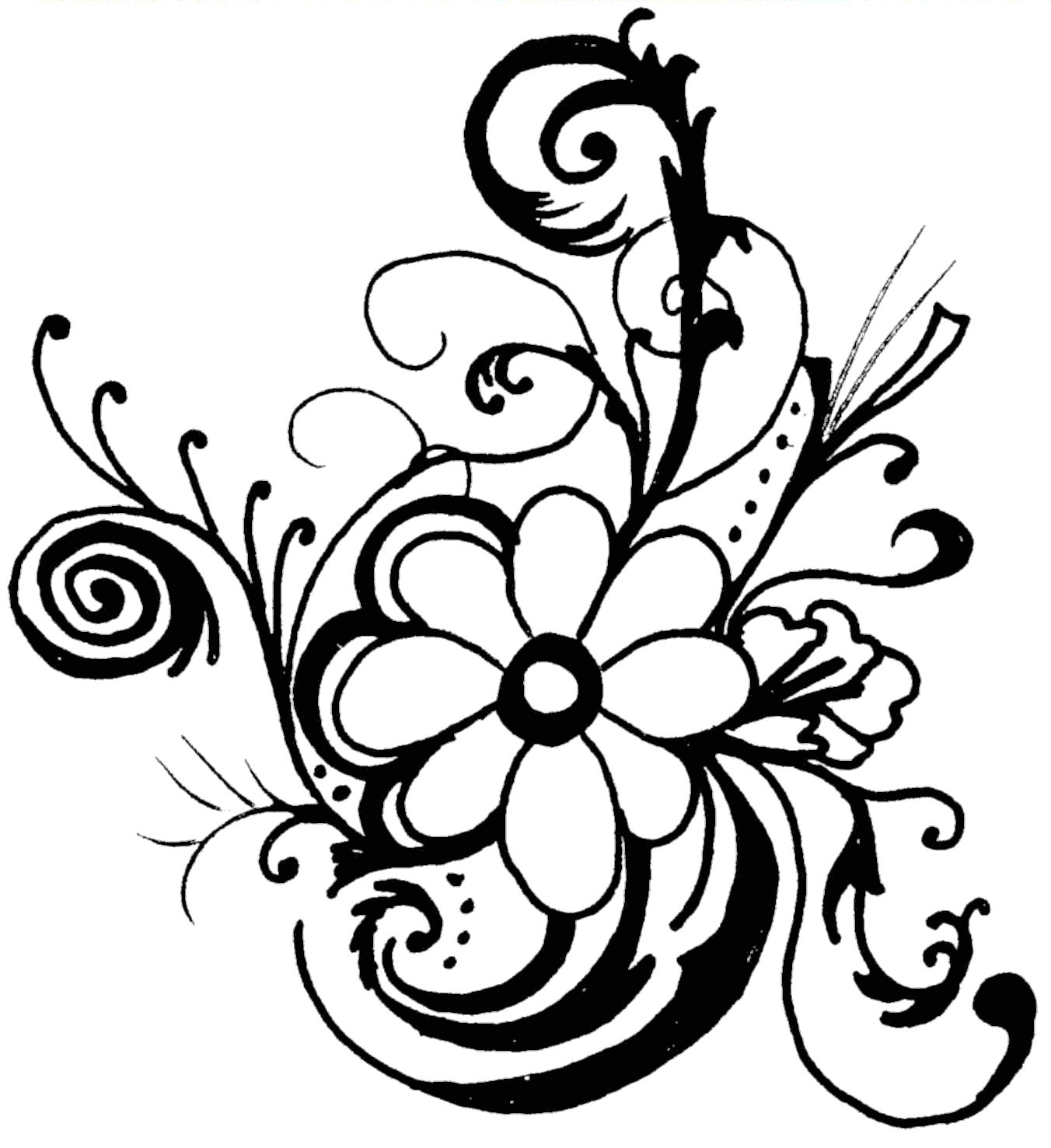 Black White Flower Clip Art